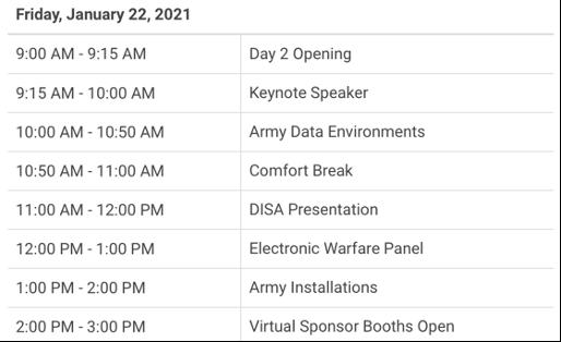 AFCEA NOVA Army IT Days 2021 Agenda Day 2